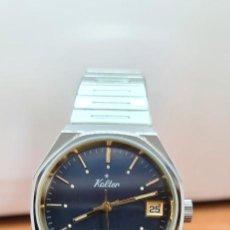 Relojes: RELOJ CABALLERO (VINTAGE) KALTER ACERO, AUTOMÁTICO, INCA,17 RUBÍS, CALENDARIO LAS TRES, CORREA ACERO. Lote 253910305