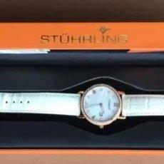 Relojes: RELOJ DE MUJER WATCH STÜHRLING 115 MONTRE QUARTZ SUISSE CUERO NACAR CRISTALES SWAROVSKI. Lote 253961350