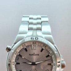 Relojes: RELOJ CABALLERO CUARZO NAMASTE ANALOGICO DIGITAL CRONO, ALARMA, FECHA, ESFERA BLANCA, CORREA ACERO.. Lote 253980765