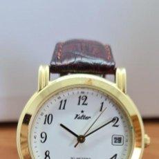 Relojes: RELOJ CABALLERO KALTER AUTOMATIC CHAPADO DE ORO, ESFERA BLANCA, CALENDARIO A LAS TRES, CORREA MARRÓN. Lote 254005245