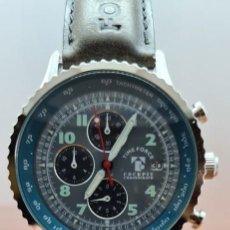 Relojes: RELOJ CABALLERO (VINTAGE) TIME FORCE CUARZO CRONOGRAFO ACERO, CON ESFERA GRIS, CORREA ORIGINAL NEGRA. Lote 255401640