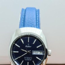 Relojes: RELOJ CABALLERO (VINTAGE) KALTER ACERO, AUTOMÁTICO, INCA,17 RUBÍS, CALENDARIO LAS TRES, CORREA CUERO. Lote 255407775