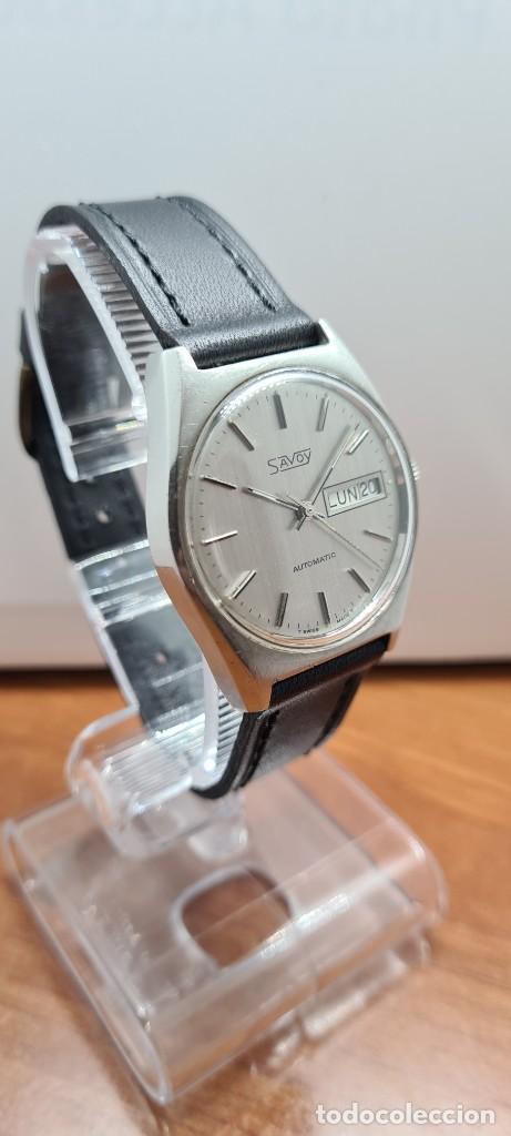 Relojes: Reloj caballero (Vintage) automático SAVOY doble calendario a las tres, cristal nuevo, correa cuero - Foto 3 - 255415440