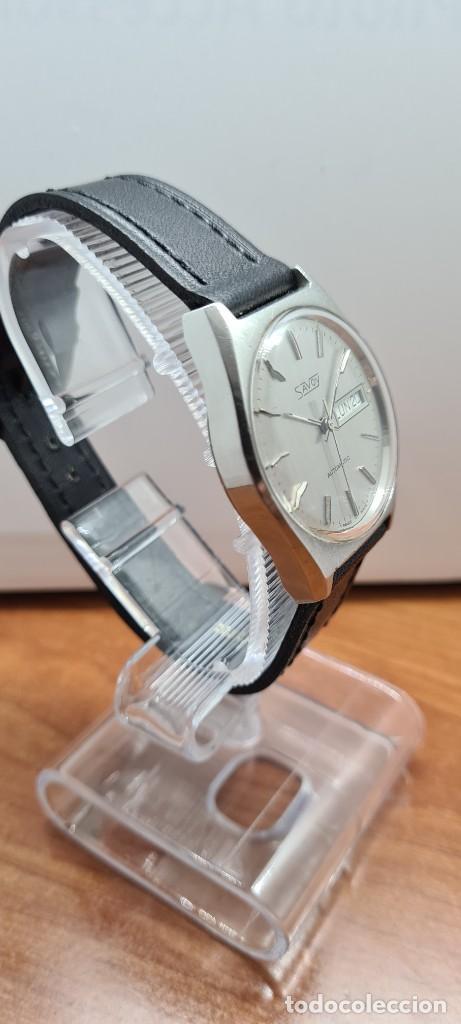 Relojes: Reloj caballero (Vintage) automático SAVOY doble calendario a las tres, cristal nuevo, correa cuero - Foto 5 - 255415440