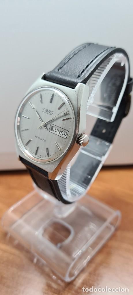 Relojes: Reloj caballero (Vintage) automático SAVOY doble calendario a las tres, cristal nuevo, correa cuero - Foto 6 - 255415440