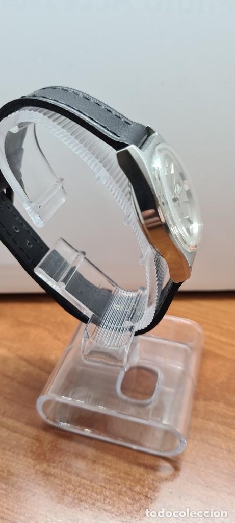 Relojes: Reloj caballero (Vintage) automático SAVOY doble calendario a las tres, cristal nuevo, correa cuero - Foto 7 - 255415440