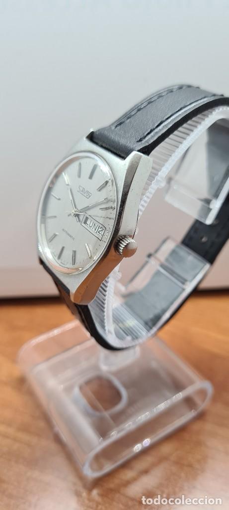 Relojes: Reloj caballero (Vintage) automático SAVOY doble calendario a las tres, cristal nuevo, correa cuero - Foto 8 - 255415440