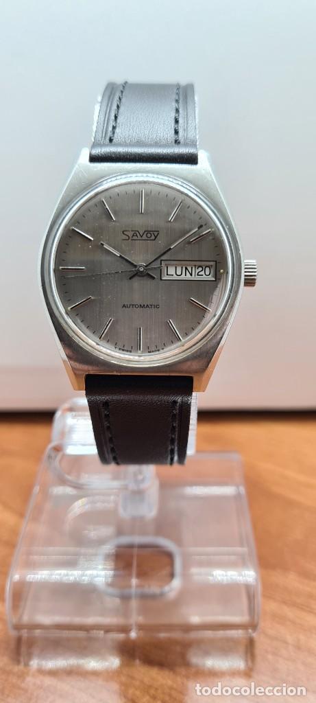 Relojes: Reloj caballero (Vintage) automático SAVOY doble calendario a las tres, cristal nuevo, correa cuero - Foto 9 - 255415440