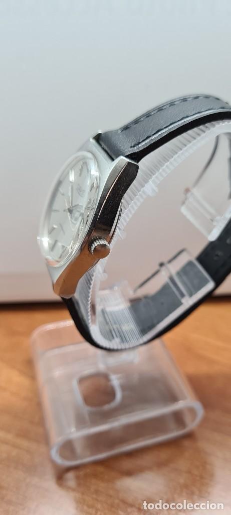 Relojes: Reloj caballero (Vintage) automático SAVOY doble calendario a las tres, cristal nuevo, correa cuero - Foto 10 - 255415440
