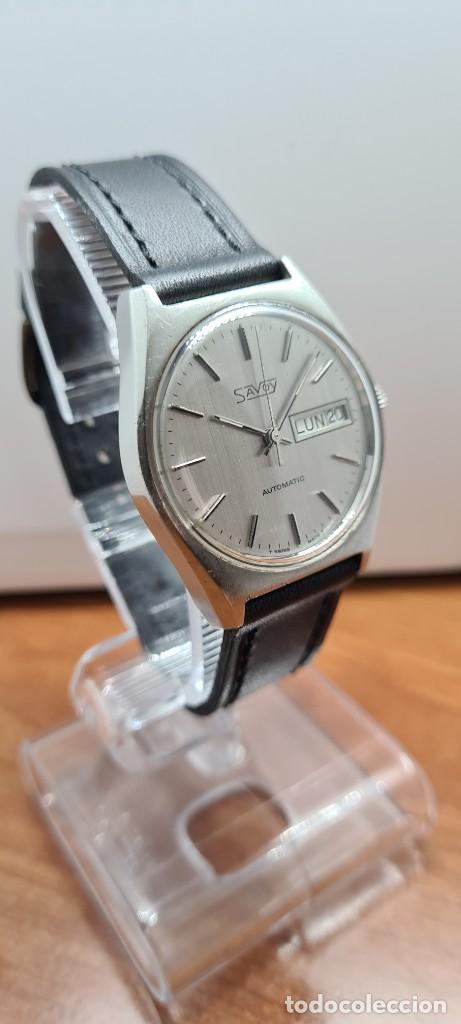 Relojes: Reloj caballero (Vintage) automático SAVOY doble calendario a las tres, cristal nuevo, correa cuero - Foto 12 - 255415440