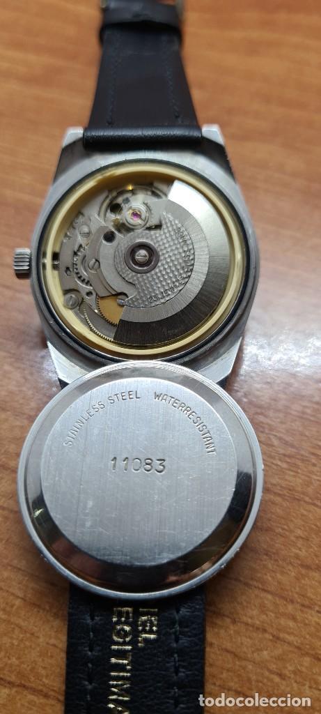 Relojes: Reloj caballero (Vintage) automático SAVOY doble calendario a las tres, cristal nuevo, correa cuero - Foto 14 - 255415440