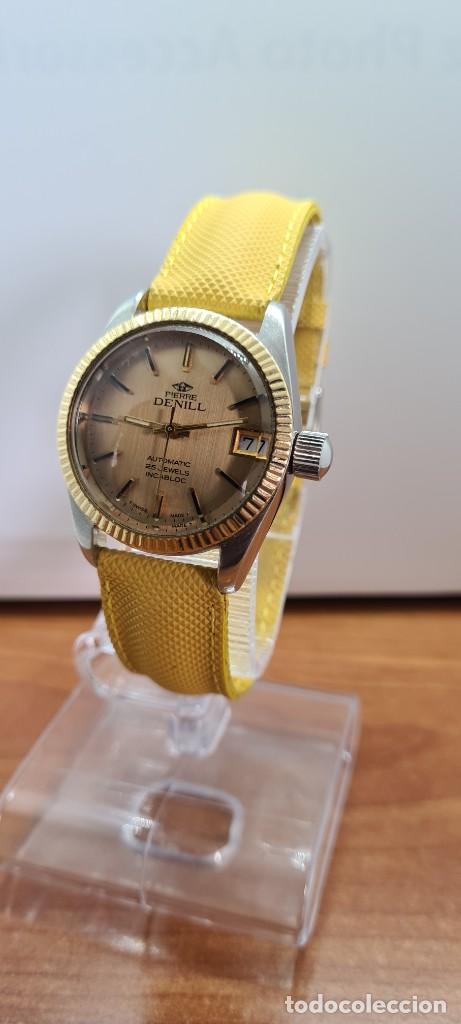 Relojes: Reloj caballero (Vintage) PIERRE DENILL automático acero, esfera color oro, calendario tres correa. - Foto 2 - 255422870