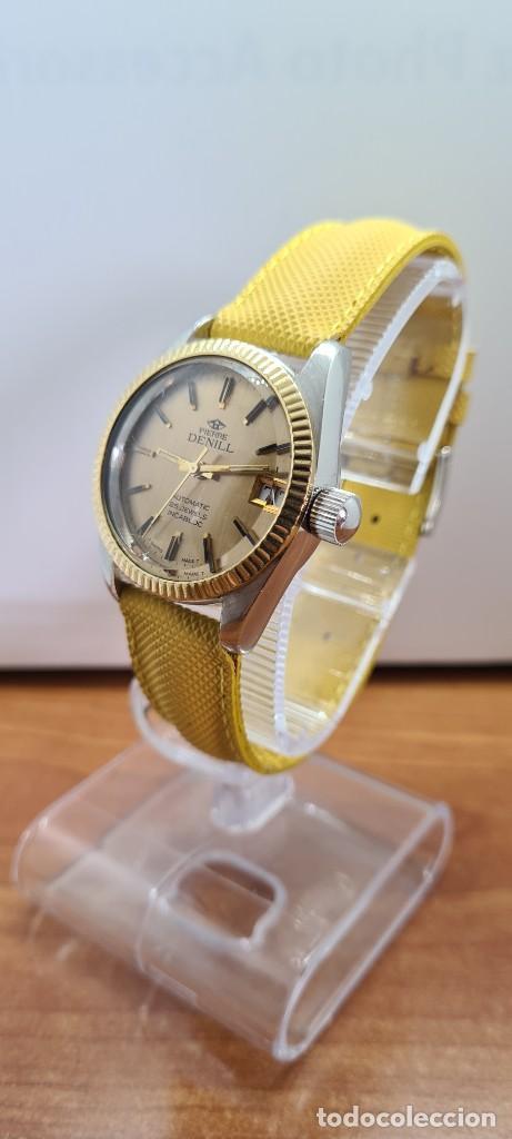Relojes: Reloj caballero (Vintage) PIERRE DENILL automático acero, esfera color oro, calendario tres correa. - Foto 3 - 255422870