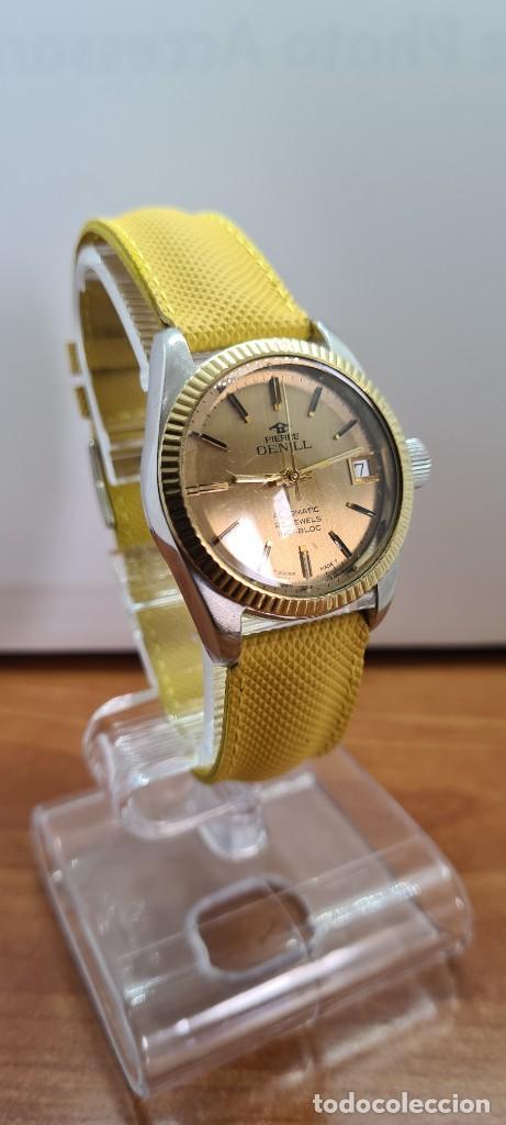 Relojes: Reloj caballero (Vintage) PIERRE DENILL automático acero, esfera color oro, calendario tres correa. - Foto 4 - 255422870