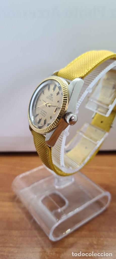 Relojes: Reloj caballero (Vintage) PIERRE DENILL automático acero, esfera color oro, calendario tres correa. - Foto 5 - 255422870