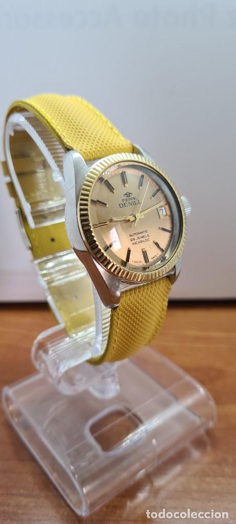 Relojes: Reloj caballero (Vintage) PIERRE DENILL automático acero, esfera color oro, calendario tres correa. - Foto 6 - 255422870