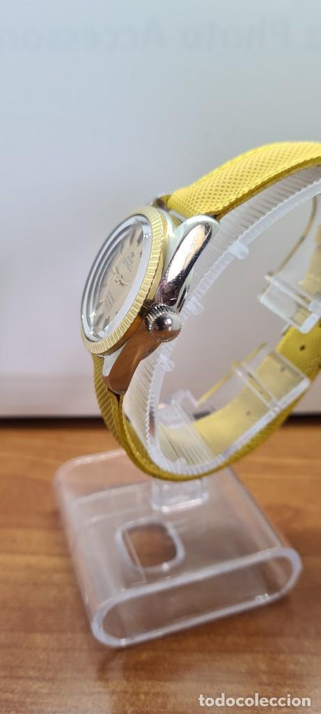Relojes: Reloj caballero (Vintage) PIERRE DENILL automático acero, esfera color oro, calendario tres correa. - Foto 7 - 255422870