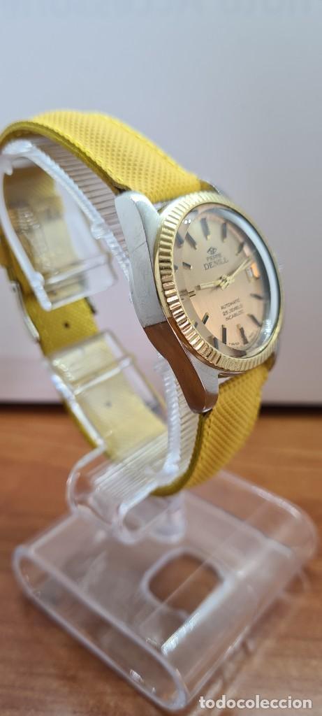 Relojes: Reloj caballero (Vintage) PIERRE DENILL automático acero, esfera color oro, calendario tres correa. - Foto 8 - 255422870