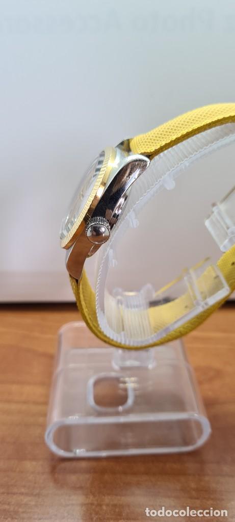 Relojes: Reloj caballero (Vintage) PIERRE DENILL automático acero, esfera color oro, calendario tres correa. - Foto 10 - 255422870