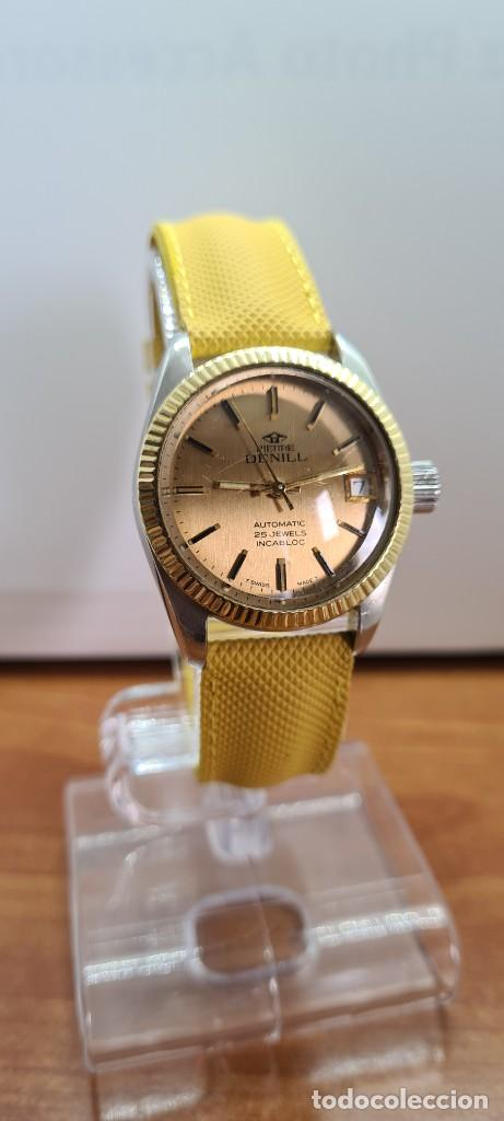 Relojes: Reloj caballero (Vintage) PIERRE DENILL automático acero, esfera color oro, calendario tres correa. - Foto 12 - 255422870