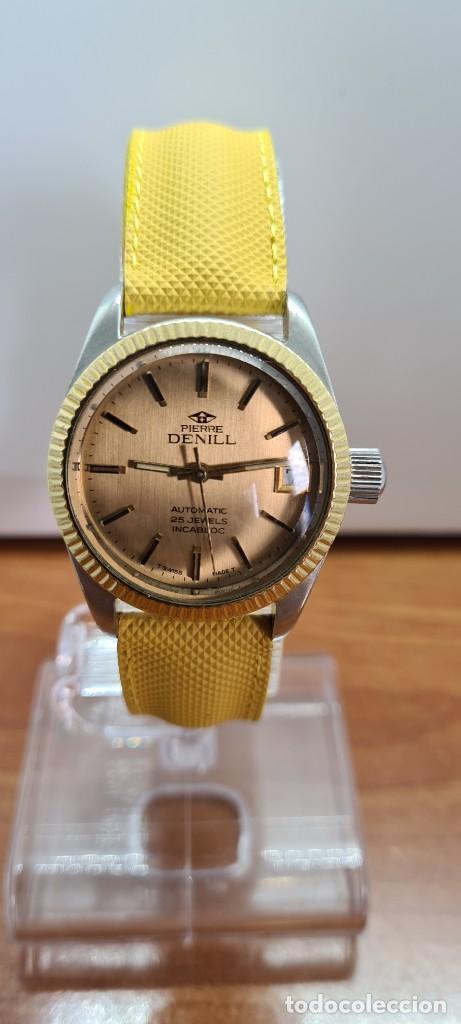 Relojes: Reloj caballero (Vintage) PIERRE DENILL automático acero, esfera color oro, calendario tres correa. - Foto 14 - 255422870