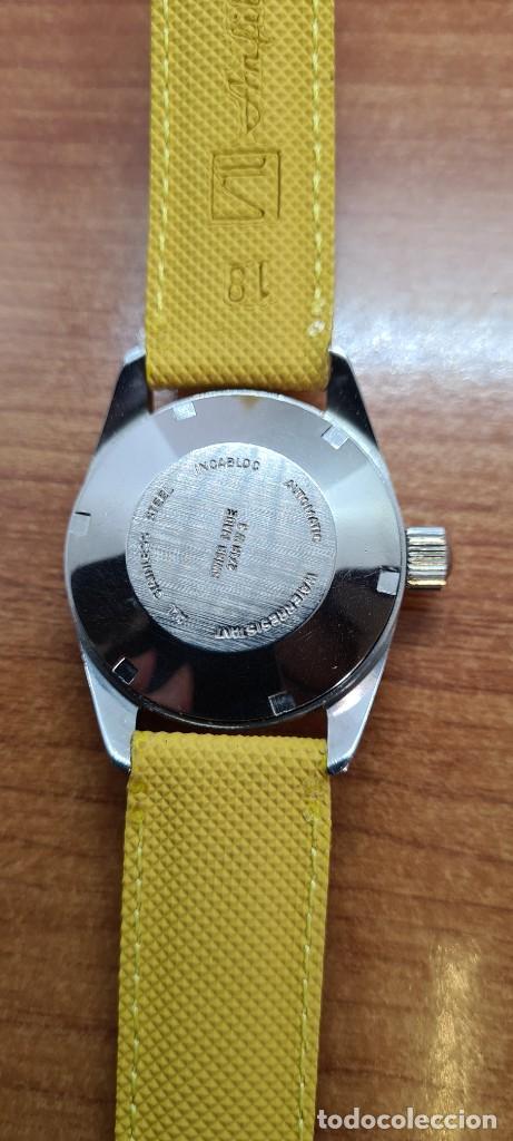 Relojes: Reloj caballero (Vintage) PIERRE DENILL automático acero, esfera color oro, calendario tres correa. - Foto 17 - 255422870