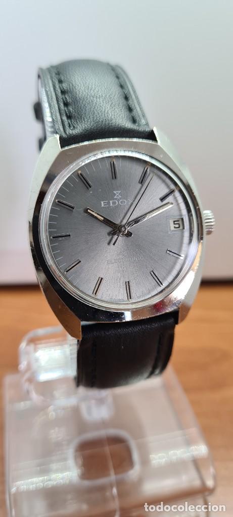 Relojes: Reloj caballero de cuarzo EDOX electronico en acero, esfera gris, calendario las tres, correa cuero. - Foto 3 - 255428955