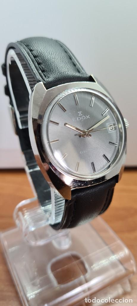 Relojes: Reloj caballero de cuarzo EDOX electronico en acero, esfera gris, calendario las tres, correa cuero. - Foto 5 - 255428955
