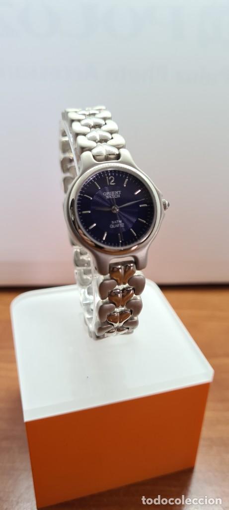 Relojes: Reloj señora ORIENT de cuarzo en acero, esfera azul, agujas acero, correa acero, reloj nuevo tienda - Foto 3 - 255433830