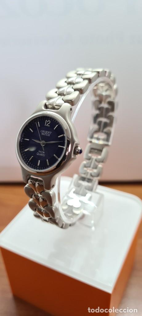 Relojes: Reloj señora ORIENT de cuarzo en acero, esfera azul, agujas acero, correa acero, reloj nuevo tienda - Foto 4 - 255433830