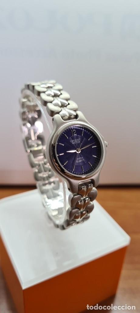 Relojes: Reloj señora ORIENT de cuarzo en acero, esfera azul, agujas acero, correa acero, reloj nuevo tienda - Foto 5 - 255433830