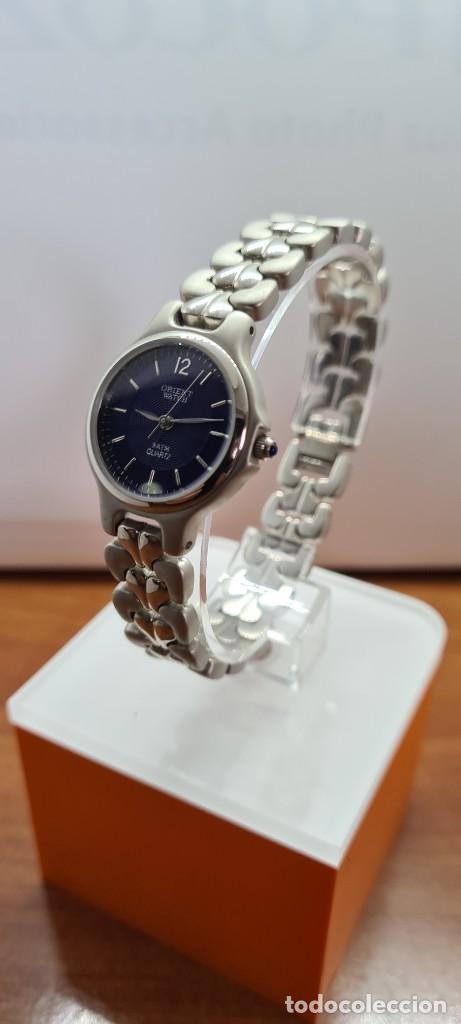 Relojes: Reloj señora ORIENT de cuarzo en acero, esfera azul, agujas acero, correa acero, reloj nuevo tienda - Foto 6 - 255433830