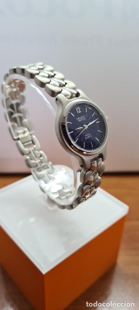 Relojes: Reloj señora ORIENT de cuarzo en acero, esfera azul, agujas acero, correa acero, reloj nuevo tienda - Foto 7 - 255433830