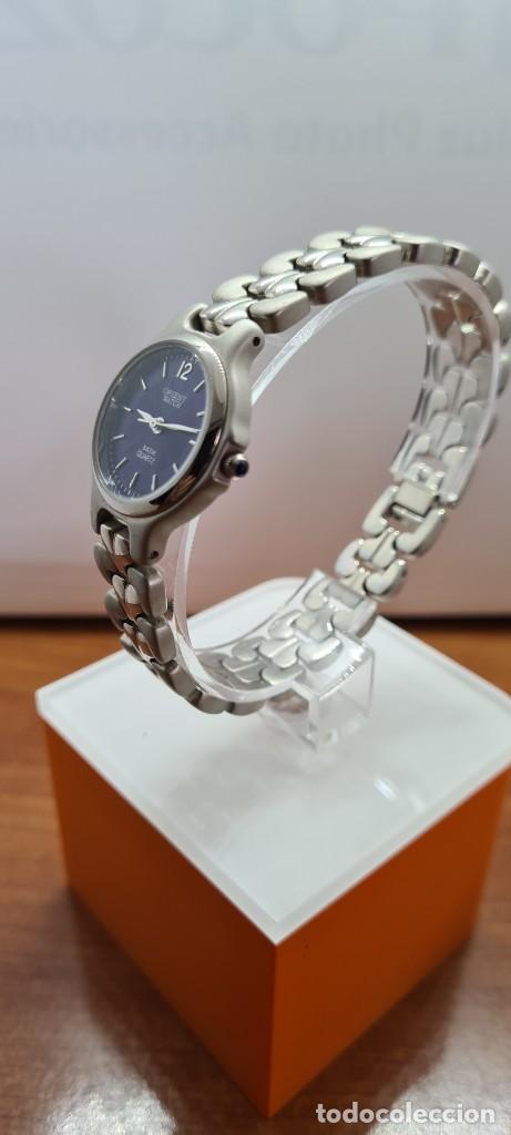 Relojes: Reloj señora ORIENT de cuarzo en acero, esfera azul, agujas acero, correa acero, reloj nuevo tienda - Foto 8 - 255433830
