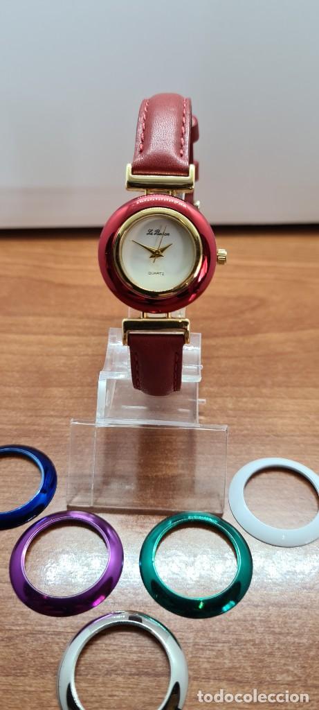 RELOJ SEÑORA LE BARON CUARZO, CAJA CHAPADA ORO, ESFERA BLANCA, CINCO BISELES DE COLORES PARA CAMBIAR (Relojes - Relojes Actuales - Otros)