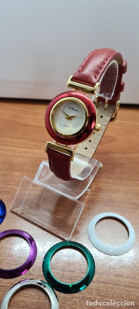 Relojes: Reloj señora LE BARON cuarzo, caja chapada oro, esfera blanca, cinco biseles de colores para cambiar - Foto 2 - 255502860