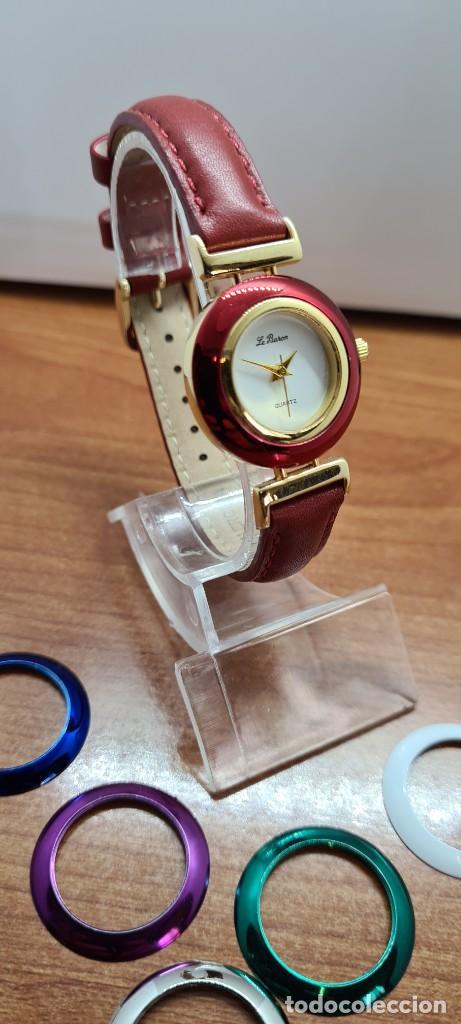 Relojes: Reloj señora LE BARON cuarzo, caja chapada oro, esfera blanca, cinco biseles de colores para cambiar - Foto 3 - 255502860
