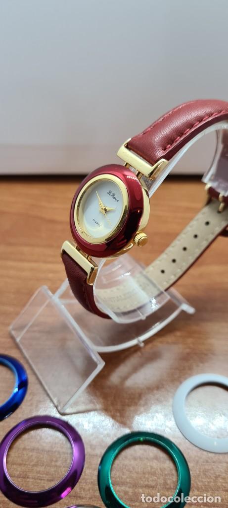 Relojes: Reloj señora LE BARON cuarzo, caja chapada oro, esfera blanca, cinco biseles de colores para cambiar - Foto 4 - 255502860