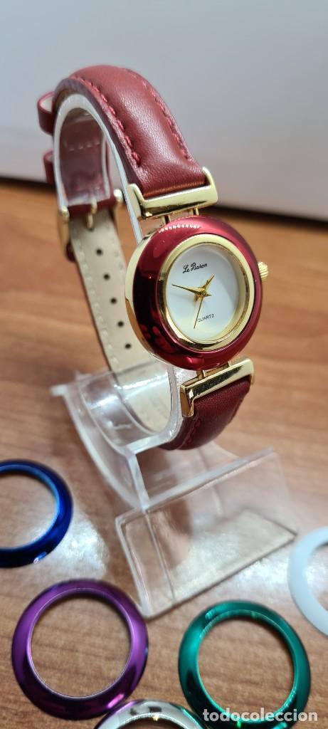 Relojes: Reloj señora LE BARON cuarzo, caja chapada oro, esfera blanca, cinco biseles de colores para cambiar - Foto 5 - 255502860