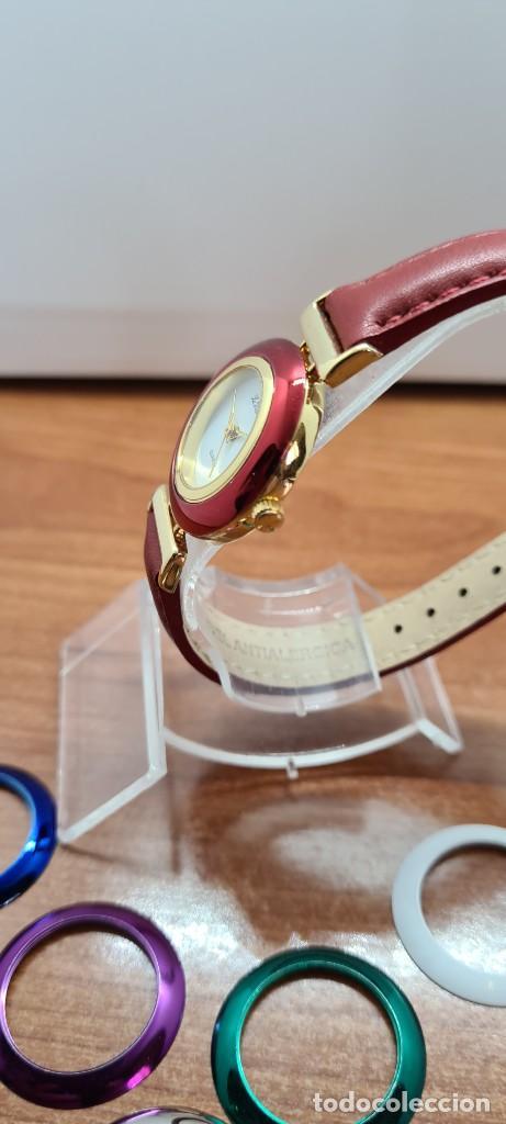 Relojes: Reloj señora LE BARON cuarzo, caja chapada oro, esfera blanca, cinco biseles de colores para cambiar - Foto 6 - 255502860