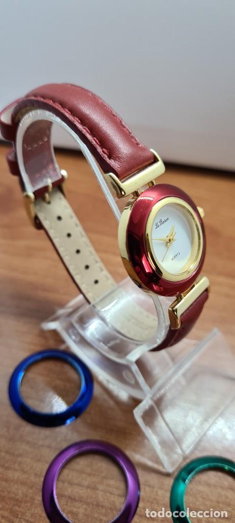 Relojes: Reloj señora LE BARON cuarzo, caja chapada oro, esfera blanca, cinco biseles de colores para cambiar - Foto 7 - 255502860