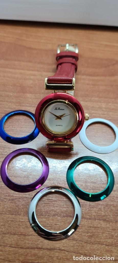 Relojes: Reloj señora LE BARON cuarzo, caja chapada oro, esfera blanca, cinco biseles de colores para cambiar - Foto 8 - 255502860