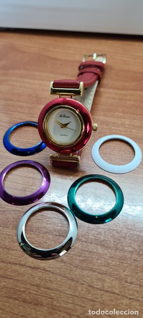 Relojes: Reloj señora LE BARON cuarzo, caja chapada oro, esfera blanca, cinco biseles de colores para cambiar - Foto 9 - 255502860