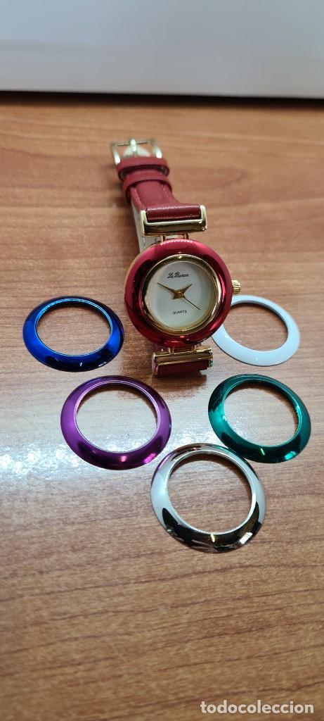 Relojes: Reloj señora LE BARON cuarzo, caja chapada oro, esfera blanca, cinco biseles de colores para cambiar - Foto 10 - 255502860