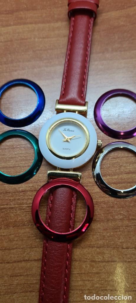 Relojes: Reloj señora LE BARON cuarzo, caja chapada oro, esfera blanca, cinco biseles de colores para cambiar - Foto 11 - 255502860