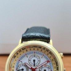 Relojes: RELOJ UNISEX CHARLES DE WILLIERS, CUARZO CHAPADO ORO, ESFERA BLANCA HORA MUNDIAL, CORREA NEGRA NUEVA. Lote 255513460