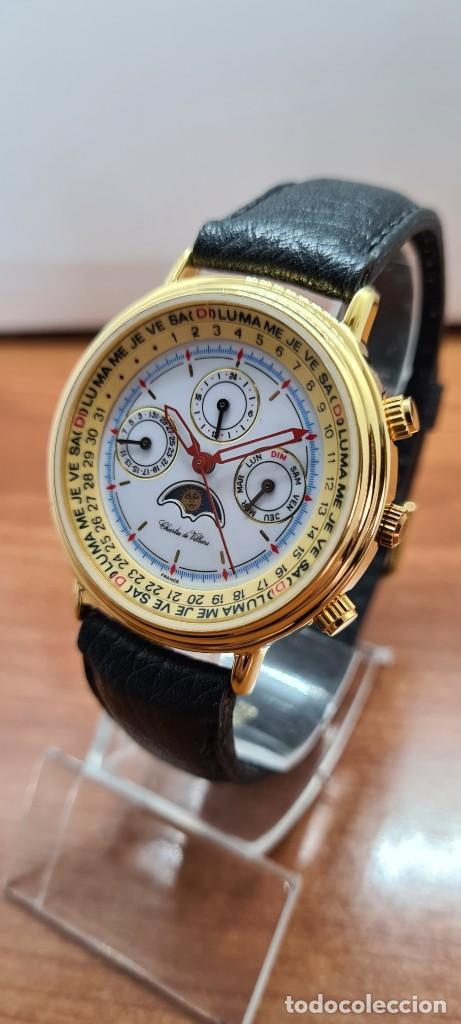 Relojes: Reloj unisex Charles de Williers, cuarzo chapado oro, esfera blanca hora mundial, correa negra nueva - Foto 2 - 255513460