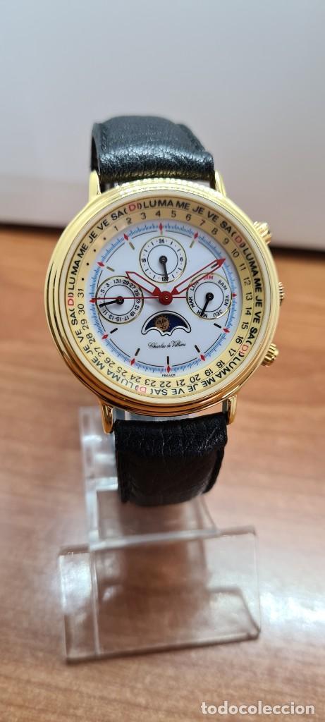 Relojes: Reloj unisex Charles de Williers, cuarzo chapado oro, esfera blanca hora mundial, correa negra nueva - Foto 3 - 255513460