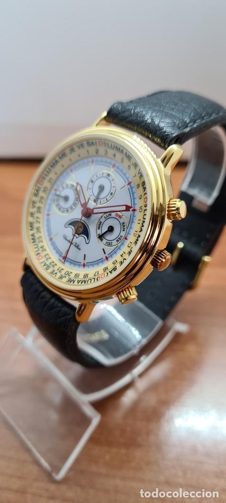 Relojes: Reloj unisex Charles de Williers, cuarzo chapado oro, esfera blanca hora mundial, correa negra nueva - Foto 4 - 255513460