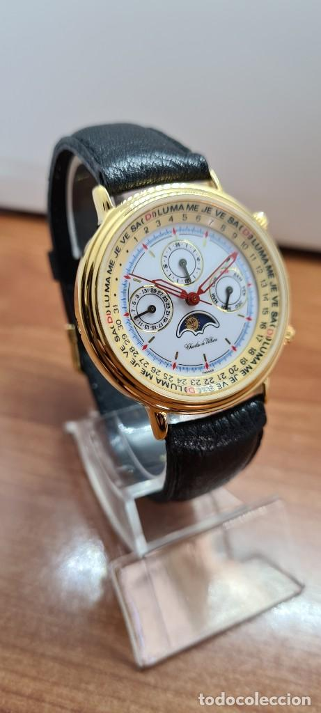 Relojes: Reloj unisex Charles de Williers, cuarzo chapado oro, esfera blanca hora mundial, correa negra nueva - Foto 5 - 255513460